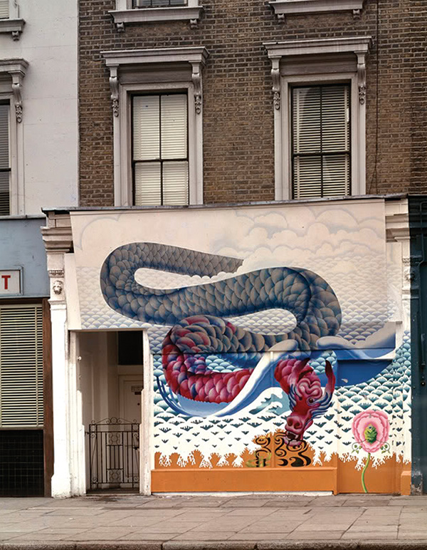 The Flying Dragon Shop front mural in Chelsea.